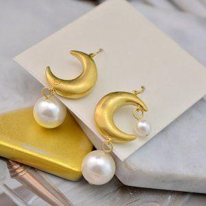 Tory Burch Delicate Golden Moon Pearl Earrings